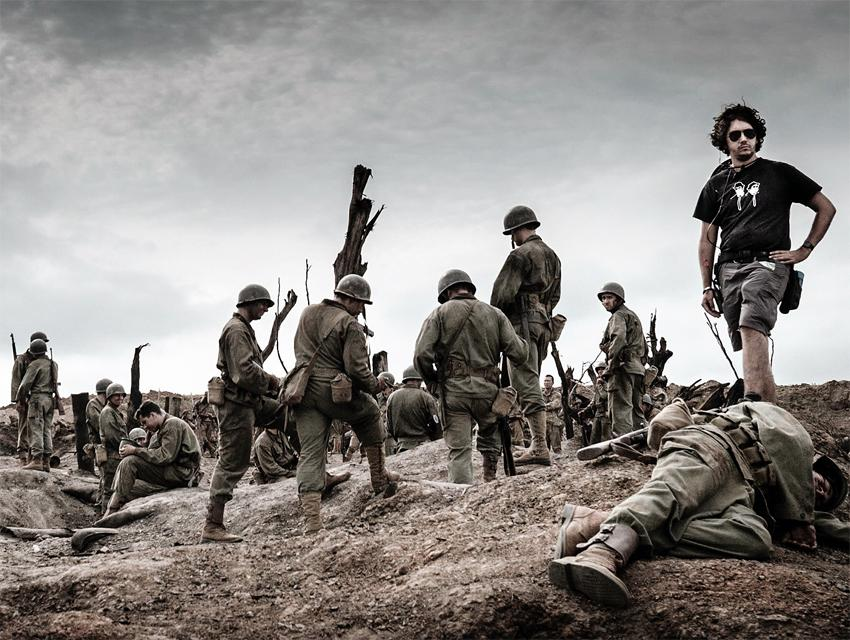 "3rd AD Joe Popplewell positions background extras of ""Hacksaw Ridge"" 2nd Unit"